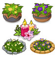 set flowers in pots flower beds and candles vector image vector image