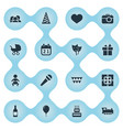 set of simple holiday icons vector image