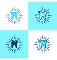 shining tooth icon set in flat and line style vector image