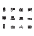 Silhouette Hi-tech technical equipment icons vector image vector image