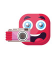 square deep pink emoji holding a camera on a vector image vector image