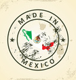 Stamp with map flag of Mexico vector image