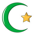 starcrescent symbol of islam icon cartoon style vector image vector image