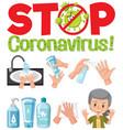 stop coronavirus logo with hand using sanitizer vector image vector image
