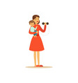 super mom character with child doing exercises vector image vector image