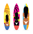 surfboard with girl on it set vector image vector image