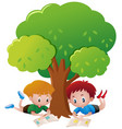 two boys reading book under tree vector image