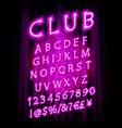 violet pink neon lamp cinema font vector image vector image