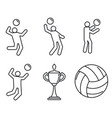 volleyball sport icons set outline style vector image vector image
