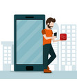 young man and smartphone vector image