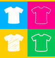 t-shirt sign four styles of icon on four color vector image