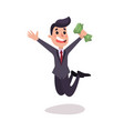 happy businessman character jumping with a pack vector image