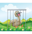 An ostrich inside the cage vector image vector image