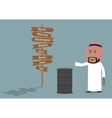 Arabian businessman sells the oil vector image vector image