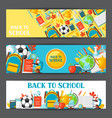 back to school banners with education items vector image vector image