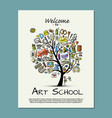 banner for art school concept tree for your vector image