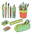 Brushes pencils pens ruler sharpener eraser icjns vector image vector image