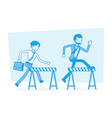 businessmen running over obstacles vector image