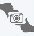 camera icon with hands frame composition vector image