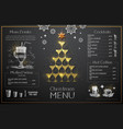 christmas menu design with golden champagne vector image