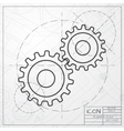cogwheel icon Epsclassic blueprint of0 vector image vector image
