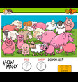 counting pigs and sheep educational game for kids vector image vector image