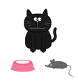 Cute black cat with mouse and plate Flat design vector image vector image