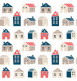 cute seamless pattern with houses in scandinavian vector image vector image