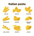 delicious italian pasta types of high quality vector image vector image