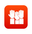 different people hands raised up icon digital red vector image vector image