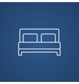 Double bed line icon vector image vector image