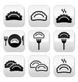 Dumplings food buttons set vector image