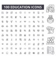 education editable line icons 100 set vector image vector image