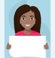 flat of a black woman with a placard in her hands vector image vector image