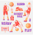 flat set basketball - basketball players vector image