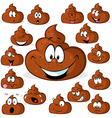 funny poo with many expressions isolated on white vector image vector image