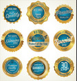gold and blue premium quality labels vector image vector image