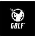 golfer silhouette logo design vector image