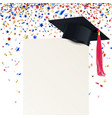 graduate cap and diploma with multicolored vector image vector image