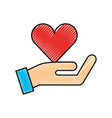 hand with red heart charity love donation vector image vector image