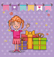 happy birthday card with little girl vector image vector image
