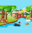 kids on the bridge and animals in the park vector image vector image
