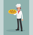 male chef with a pizza vector image vector image