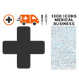 medical cross icon with 1300 medical business vector image vector image