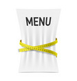 Menu squeezed by measuring tape vector image vector image