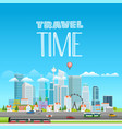 modern cityscape with different transport city vector image vector image