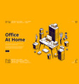 office at home workplace isometric landing page vector image vector image