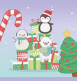 penguin bear and snowman with gifts celebration vector image vector image