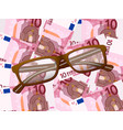 reading glasses on ten euro background vector image vector image