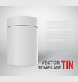 Realistic White Tin Can Template Isolated vector image